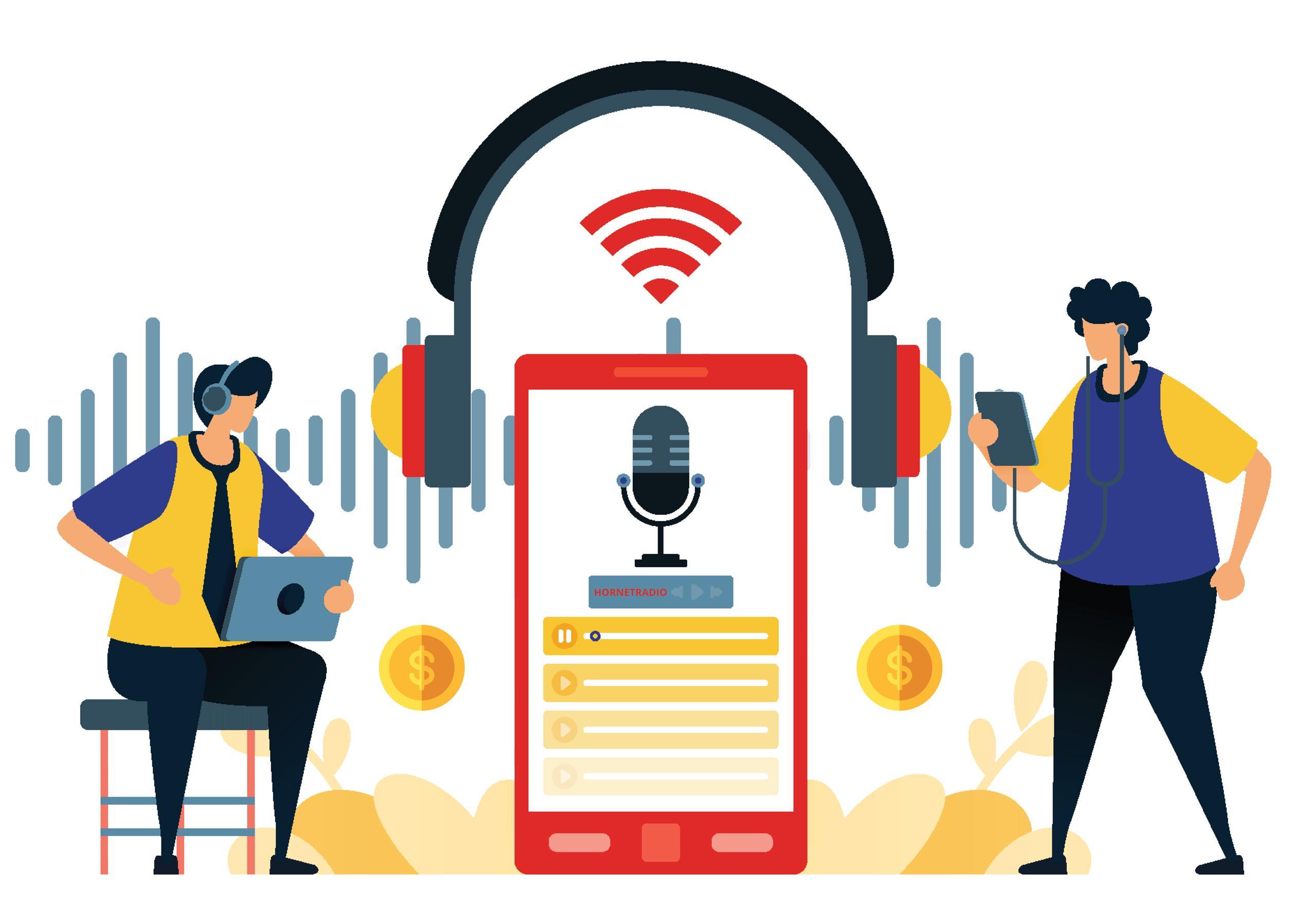 Streaming radio and podcast illustration.
